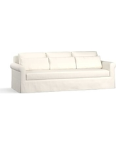 """York Roll Arm Slipcovered Deep Seat Grand Sofa 98"""" with Bench Cushion, Down Blend Wrapped Cushions, Performance Twill Warm White"""