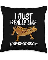 Cute Tiny Dinosaur Reptile Gecko Animals Designs Cool Leopard Gift for Men Women Panther Gecko Lovers Throw Pillow, 16x16, Multicolor