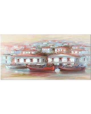 Sales On East Urban Home Nautical Three Fishing Boats On The Island Harbor Print On Wrapped Canvas Canvas Fabric In Red Brown Blue Wayfair