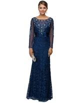 Dancing Queen - 9070 Finely Jeweled Illusion A-Line Long Formal Dress