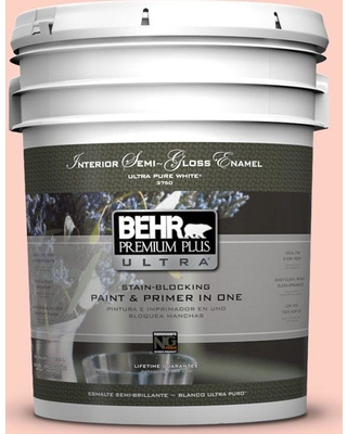 BEHR Premium Plus Ultra 5 gal. #200A-2 Coral Cream Semi-Gloss Enamel Interior Paint and Primer in One