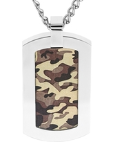 Men's Crucible Stainless Steel Camouflage Dog Tag Pendant Necklace - Brown, Khaki/Silver