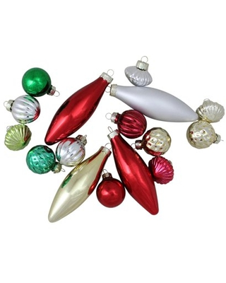 """16-Piece Set of Traditional Finial Ball and Onion Shaped Christmas Ornaments 4"""""""