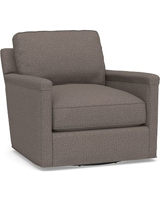Tyler Square Arm Upholstered Swivel Armchair without Nailheads, Polyester Wrapped Cushions, Performance Brushed Basketweave Charcoal
