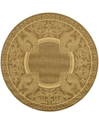 """Nyles Floral Brown/Natural Area Rug Bungalow Rose Rug Size: Round 5'3"""""""