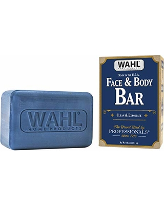 Wahl Exfoliating & Moisturizing Face & Body Soap Bar with a Rich, Soft Lather for Shaving, Showering & Facial Cleansing for Men - 9 Oz