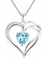 """Two Hearts Forever One Sterling Silver Light Blue Topaz and Diamond Accent Heart Pendant, Women's, Size: 18"""""""