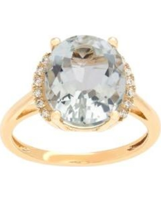 Belk & Co. Gold 5 ct. t.w. Green Amethyst and Diamond Oval Ring in 10k Yellow Gold