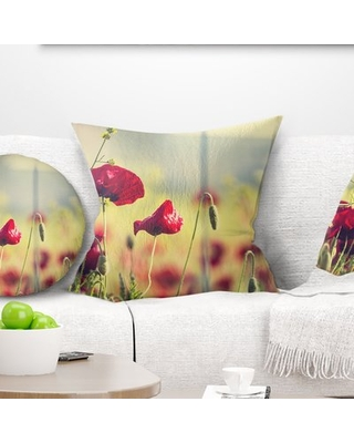 """Floral Poppy Flowers on Background Pillow East Urban Home Size: 18"""" x 18"""", Product Type: Throw Pillow"""
