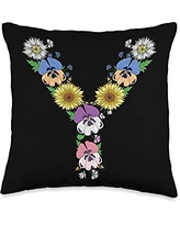 Initial Monogram Floral Alphabet Tees by Alice Ron Y Shirt Cute Initial Monogram Floral Alphabet Letters Throw Pillow, 16x16, Multicolor