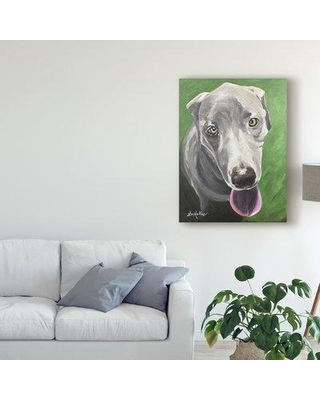 """Winston Porter 'Great Dane Green' Acrylic Painting Print on Wrapped Canvas W001173943 Size: 19"""" H x 14"""" W x 2"""" D"""