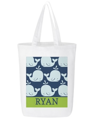 Personalized Whale Of A Tale Beach Tote - Available in Pink or Green