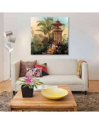 """East Urban Home 'Flowers And Tropical Plants' By Jean Capeinick Graphic Art Print on Canvas EUME1801 Size: 37"""" H x 37"""" W x 1.5"""" D"""