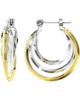 Isla Simone 14K Gold and Rhodium Plated Triangle 3 Tube Small Interlaced Hoop Earrings