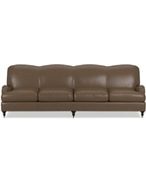 """Bedford 108"""" Sofa, Down Cushion, Italian Distressed Leather, Solid, Toffee"""
