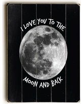 """Latitude Run 'To the Moon and Back Moon' Rectangle Graphic Art Print on Wood LRUN4416 Size: 24"""" H x 18"""" W x 1.5"""" D"""