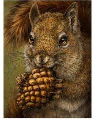 "Millwood Pines 'Squirrel Totem' Acrylic Painting Print on Wrapped Canvas W000431548 Size: 47"" H x 35"" W x 2"" D"