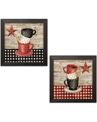 """August Grove 'Farmhouse Kitchen Decor Stacked Coffee Cup & Barnstar' 2 Piece Graphic Art Print Set BF127826 Size: 12"""" H x 12"""" W x 0.75"""" D Format: Black Framed"""