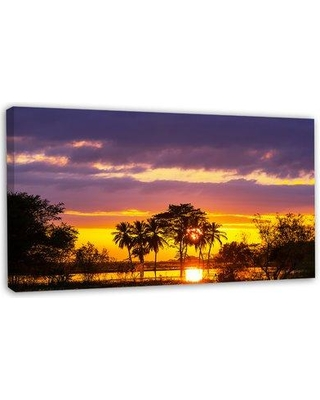 """Design Art 'Colorful Flooded Field at Sunset' Photographic Print on Wrapped Canvas, Canvas & Fabric in Brown/Yellow/Purple, Size 16"""" H x 32"""" W"""