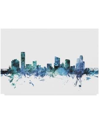 """Wrought Studio 'Grand Rapids Michigan Blue Teal Skyline' Graphic Art Print on Wrapped Canvas W000205778 Size: 22"""" H x 32"""" W x 2"""" D"""
