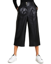 River Island Pleat Front Faux Leather Culotte Pants, Size 6 Us in Black at Nordstrom