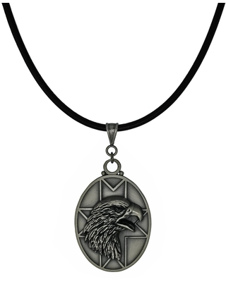 Handmade Jewelry by Dawn Unisex Pewter Eagle Head Leather Cord Necklace (USA) - Black (24 Inch)
