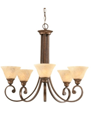 Toltec Lighting 255-BRZ-508 Curl Five-Light Uplight Chandelier Bronze Finish with Italian Marble Glass Shade, 7-Inch