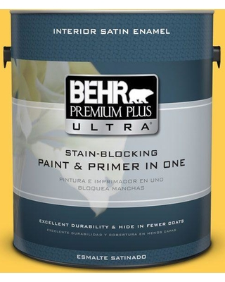 BEHR ULTRA 1 gal. #T16-05 Canary Diamond Satin Enamel Interior Paint and Primer in One
