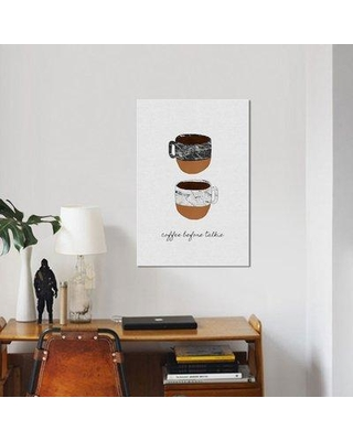 """East Urban Home 'Coffee before Talkie' Graphic Art Print on Canvas UBAH8975 Size: 18"""" H x 12"""" W x 1.5"""" D"""