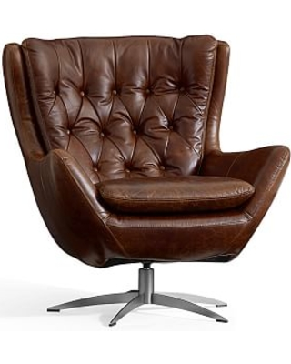 Wells Leather Swivel Armchair with Brushed Nickel Base, Polyester Wrapped Cushions, Molasses