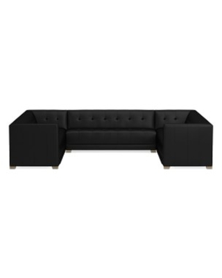 Cavallo Sectional, 3-Piece U-Shape Loveseat, Tuscan Leather, Black, Heritage Grey Leg