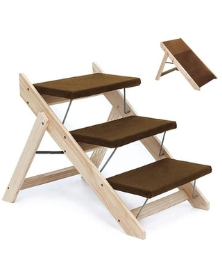 Wood Pet Stairs/Pet Steps - 2-In-1 Foldable Dog Stairs & Ramp Perfect For Beds And Cars - Portable Dog/Cat