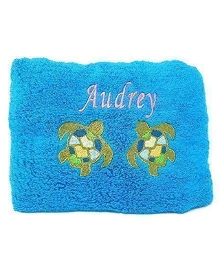 Personalized Beach Towel Embroidered With Name and Sea Turtle Design 100% Cotton