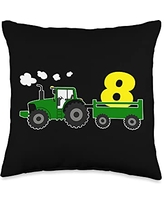 Cool kids birthday & theme party costume designs 8 years birthday tractor farm party Throw Pillow, 16x16, Multicolor