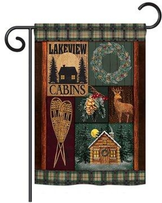 Breeze Decor Winter Lakeview Cabins Winter 2-Sided Polyester 1'6.5 x 1'1 ft. Garden Flag BD-XM-G-114163-IP-BO-DS02-US Material: Burlap Color: Dark Brown