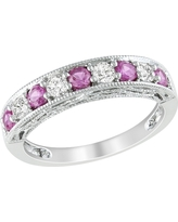 4/5 CT. T.W. Created Pink Sapphire and Created White Sapphire Ring - Silver, Size: 7.0