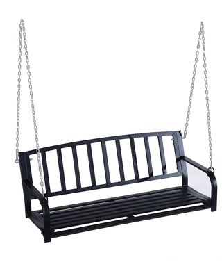 Outsunny 2 Person Outdoor Porch Swing Bench - Black