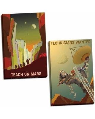 """Ebern Designs 'Teach on Mars and Technicians Wanted' 2 Piece Graphic Art Print Set BI117416 Format: Wrapped Canvas Size: 18"""" H x 12"""" W x 1.5"""" D"""