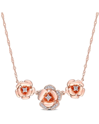 Miadora 10k Rose Gold 1/10ct TDW Diamond Floral Station Necklace