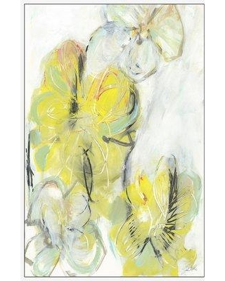 """Highland Dunes 'Yellow Floral Abstract II' Framed Acrylic Painting Print on Canvas BF142985 Size: 30"""" H x 20"""" W x 1.5"""" D"""