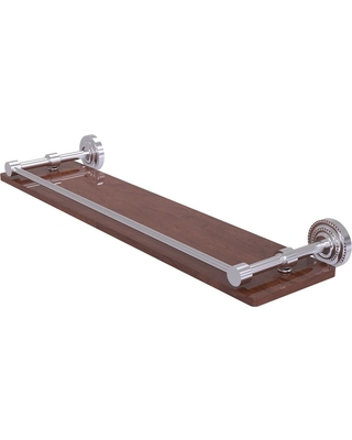 Allied Brass Dottingham Collection 22 in. Solid IPE Ironwood Shelf with Gallery Rail in Satin Chrome