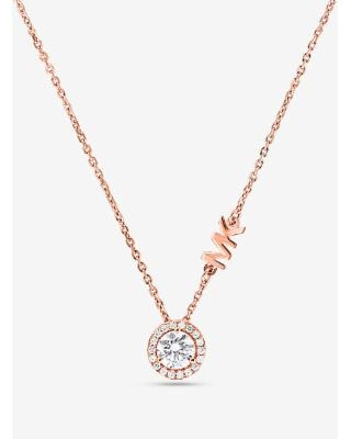 Michael Kors Precious Metal-Plated Sterling Silver Pavé Halo Necklace Rose Gold One Size
