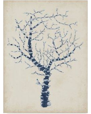 """Highland Dunes 'Indigo Coral II' Drawing Print on Wrapped Canvas W000719895 Size: 32"""" H x 24"""" W x 2"""" D"""