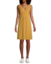 St. John's Bay Sleeveless Floral A-Line Dress, Large , Yellow
