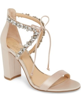 Women's Jewel Badgley Mischka Thamar Embellished Sandal, Size 9 M - Metallic
