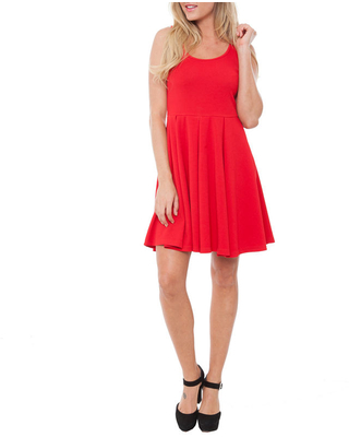 White Mark Crystal Sleeveless Fit & Flare Dress, X-large , Red