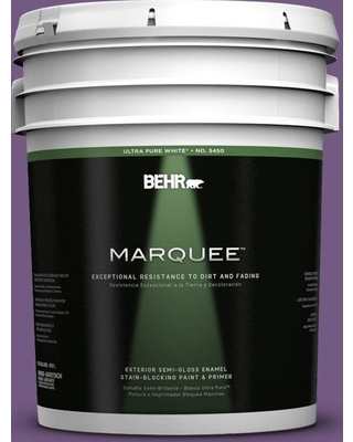 BEHR MARQUEE 5 gal. #650B-7 Mystical Purple Semi-Gloss Enamel Exterior Paint and Primer in One