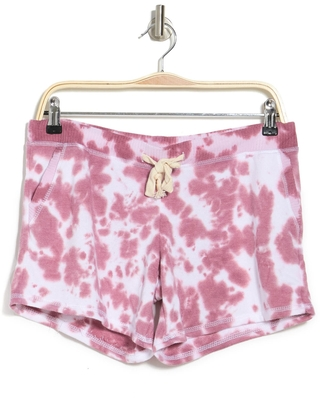 THEO AND SPENCE Theo & Spence Tie Dye Drawstring Pajama Shorts, Size Small in Mauve at Nordstrom Rack
