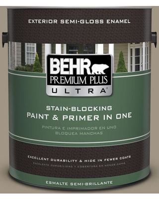 BEHR Premium Plus Ultra 1 gal. #bnc-24 Shadow Taupe Semi-Gloss Enamel Exterior Paint and Primer in One