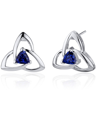 2.5 ct Trillion Cut Created Blue Sapphire Stud Earrings in Sterling Silver